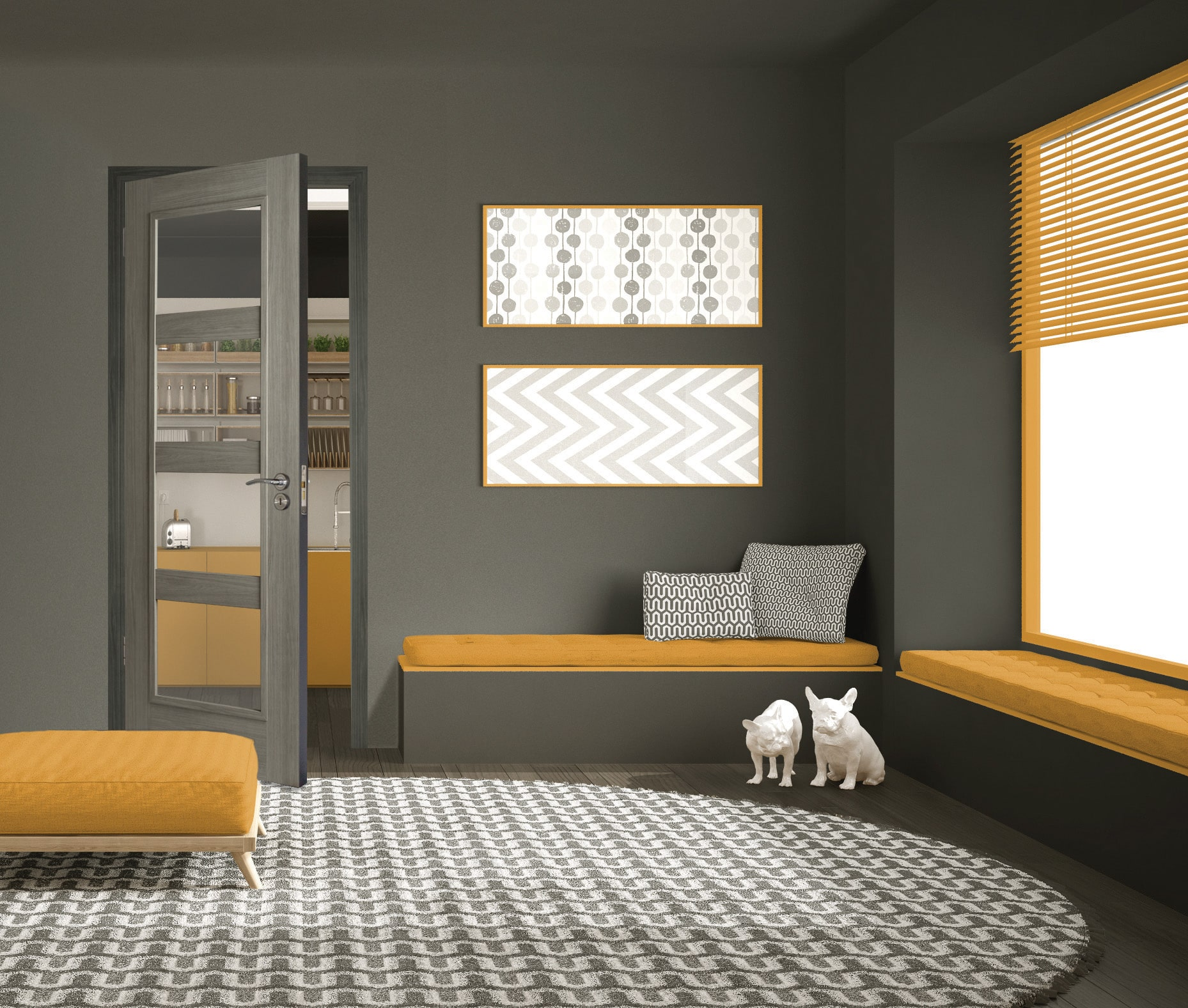Daiken 4 lite in a minimalist room with a yellow sofa
