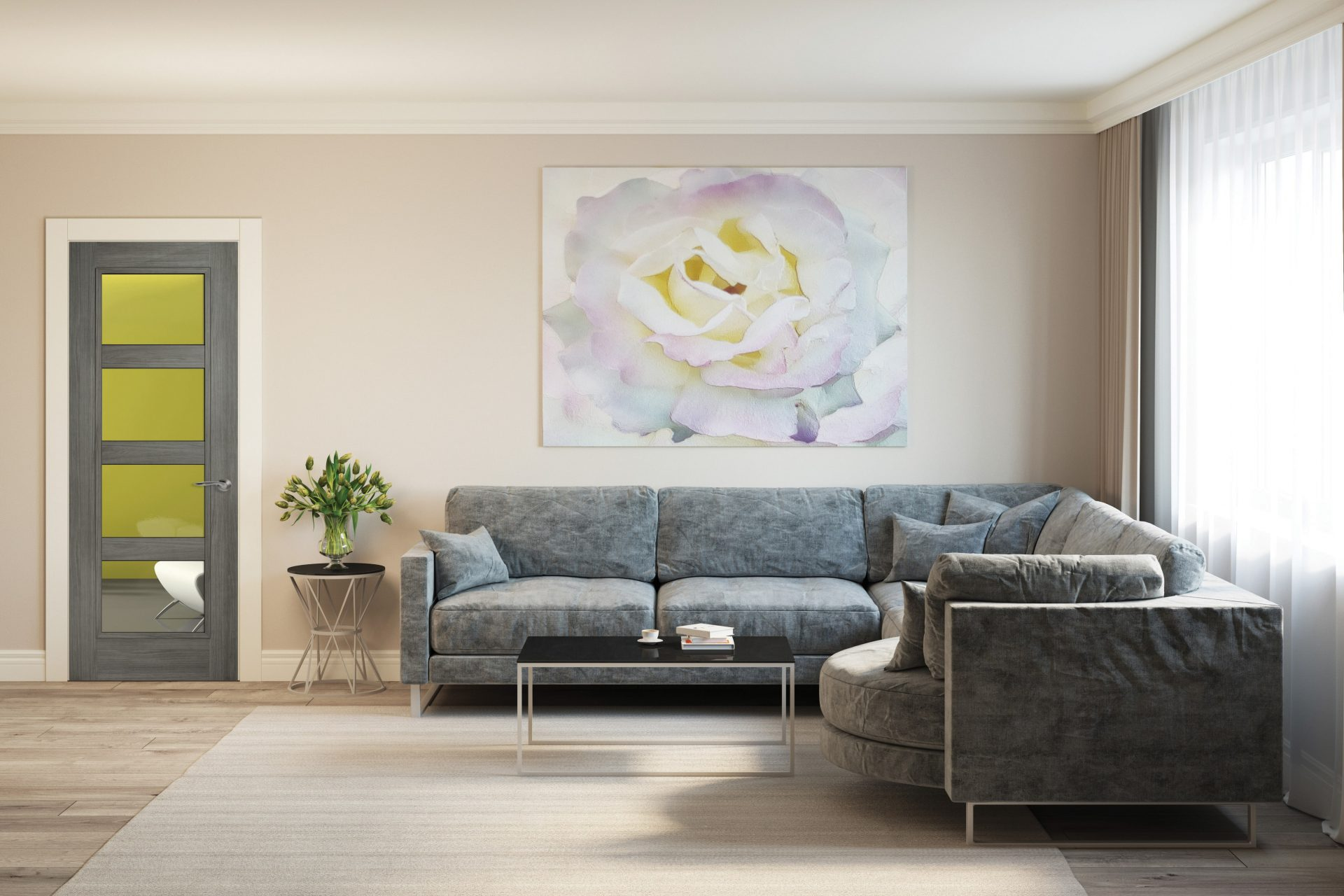 Flower living room with grey 4 lite