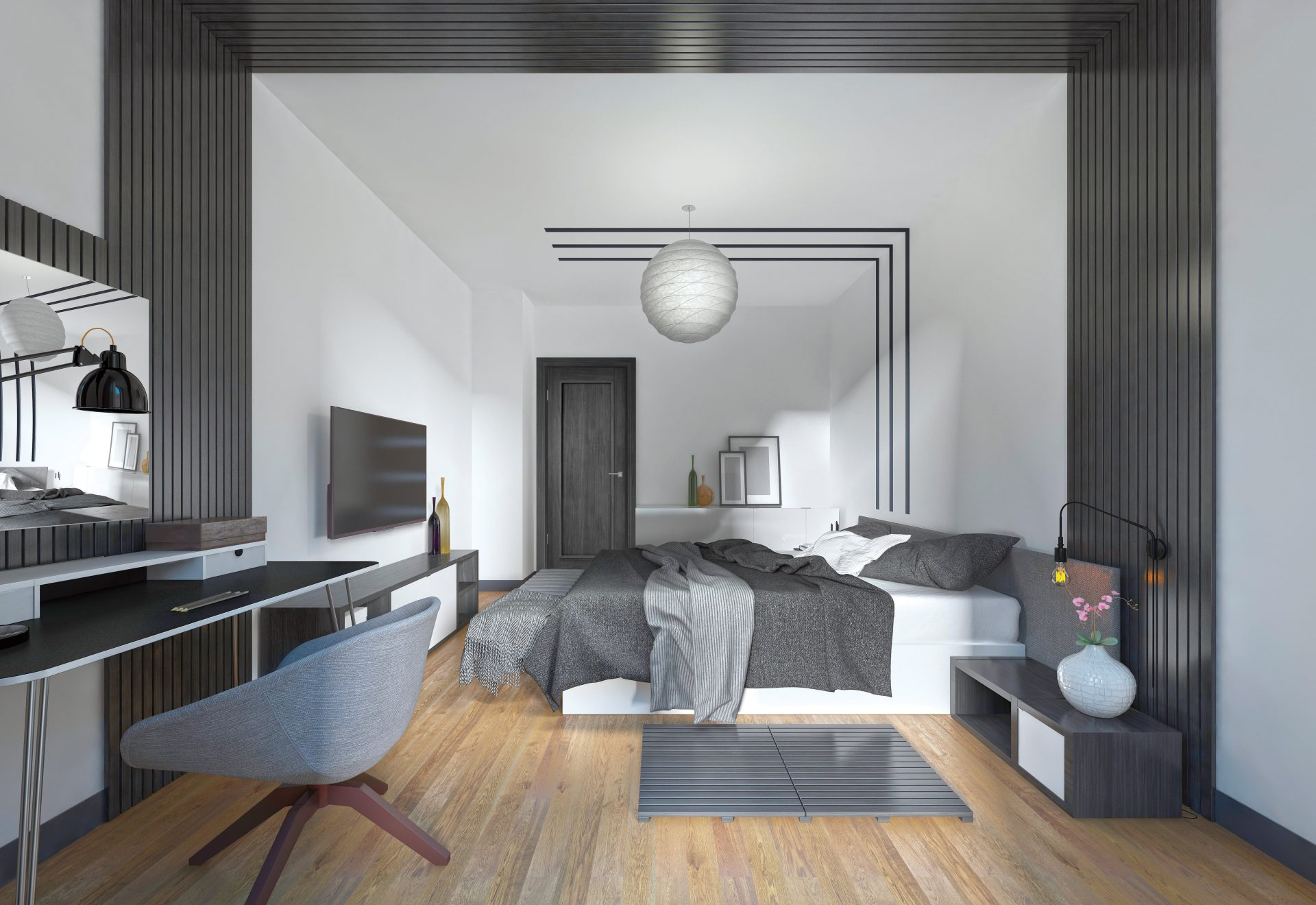 Luxurious bedroom with grey 1p